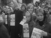 Elever ved Kampen skole med merkater (1960)
