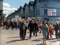 Demonstrasjon mot blokker i Normannsgata. Bildet er fra krysset Hagegata/ Sørligata (1976)